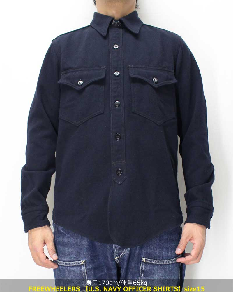 フリーホイーラーズ 【US NAVY オフィサーシャツ <ネイビー コットン/ウールヘリンボーン>】 FREEWHEELERS 【U.S. NAVY OFFICER SHIRTS <NAVY> C/W HERRINGBONE】